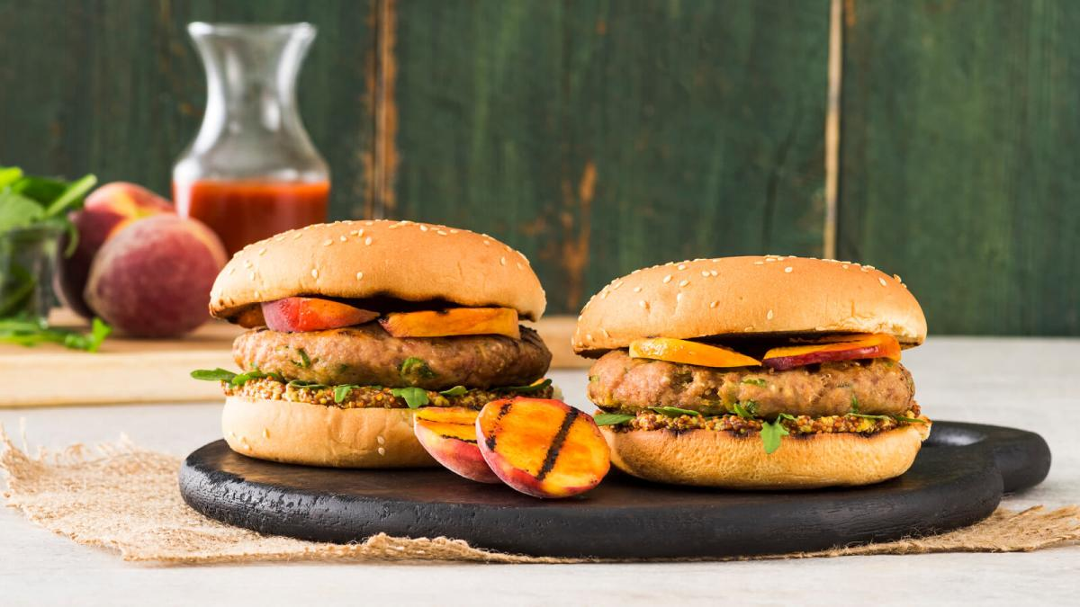 Grilled Chicken and Peach Burgers