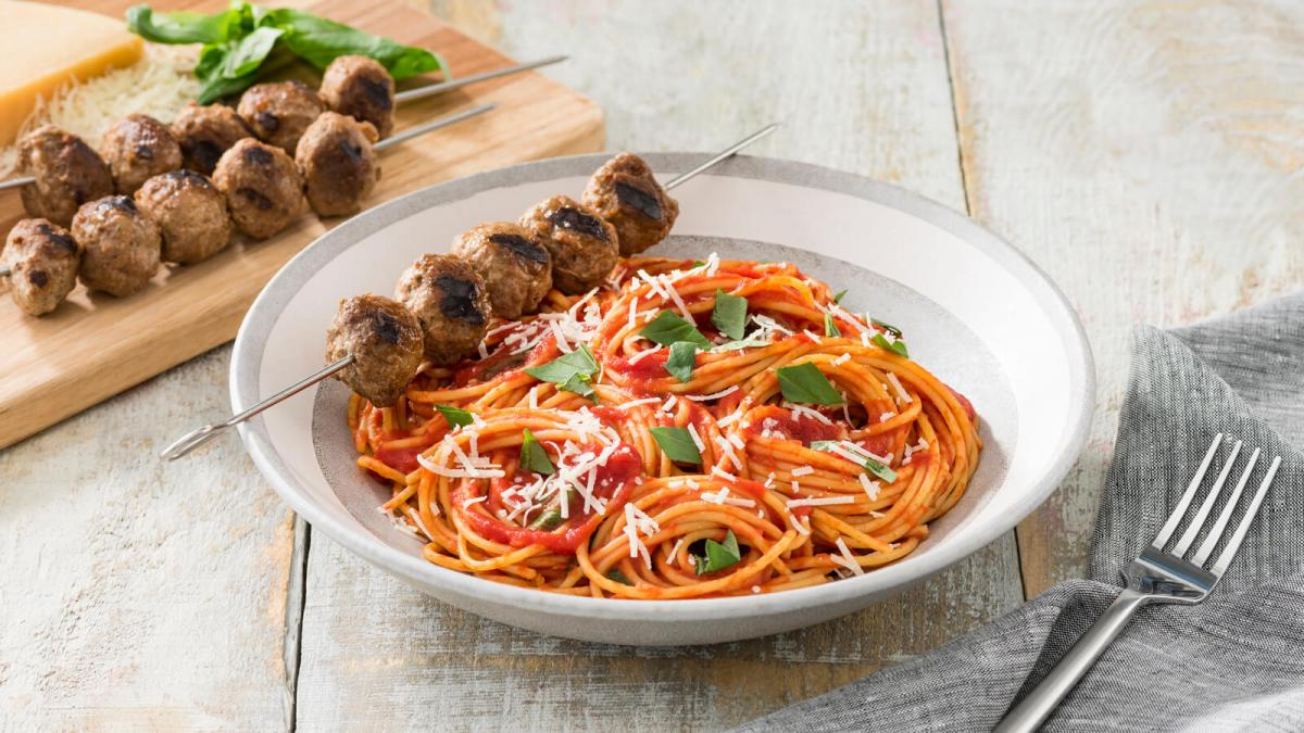 Spaghetti and Grilled Meatball Skewers