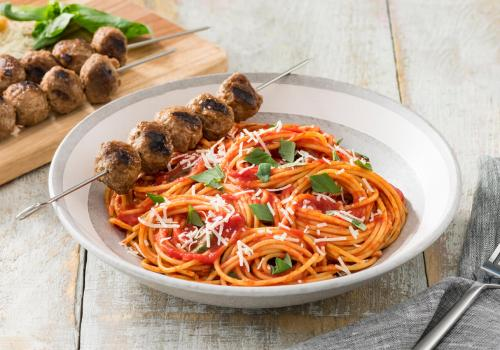 Spaghetti and Grilled Meatball Skewers recipe